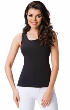 Czarna gładka koszulka na ramiączkach Szata - Daria
